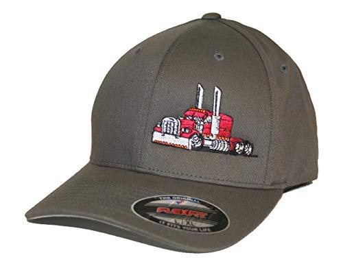JUST RIDE Trucker Hat Big Rig Tractor Semi Flexfit Cap Truck Driver (XL/XXL, Grey/RED)