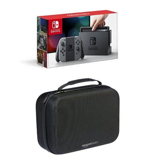 Nintendo Switch - Grey Joy-Con Console with AmazonBasics Travel & Storage Case (Black)