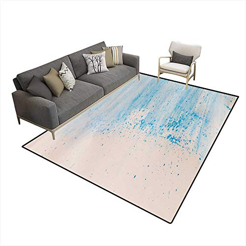 Girls Bedroom Rug Watercolor painteBlue on White Paper Background 5'x6' ()