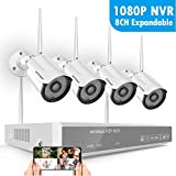 8CH 1080P Wireless Security Camera System,SAFEVANT Wireless NVR Kits Without Hard Drive, 4pcs Indoor Outdoor 960P 1.3MP Home IP Cameras with Night Vision