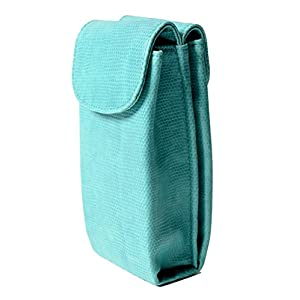 Large Double Eyeglass & Sunglasses Combo Case - Large Soft - with 2 Microfiber Cleaning Cloths - Magnetic Closure - Plush Interior Lining (Turquoise Snake)