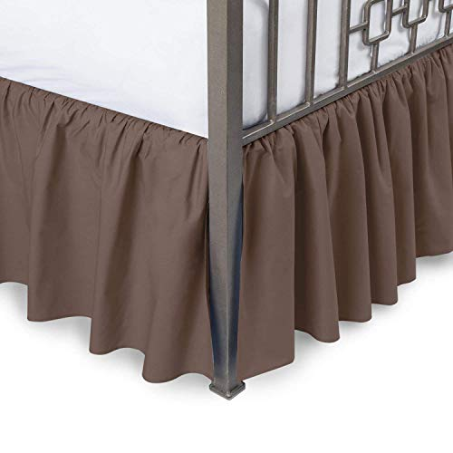 ARlinen Ruffle Bed Skirt-Full Size Chocolate Solid Bed Skirt Soft Brushed Microfiber Bed Wrap with Platform- Easy Fit Gathered Style 3 Sided Coverage Full Bedskirts for 18 Inch Drop -