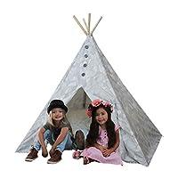 Kids Adventure Boho Chic Kids Teepee Playtent Gray and White