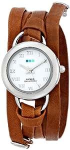 La Mer Collections Women's LMSATURN004 Tobacco  Silver Saturn  Wrap Watch