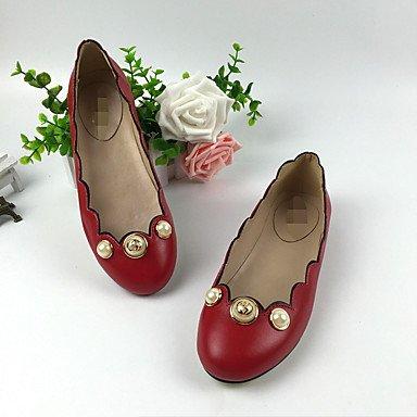 Cómodo y elegante soporte de zapatos de las mujeres pisos talón de primavera verano otoño funda de piel Casual soporte de perlas negro rojo otros rojo