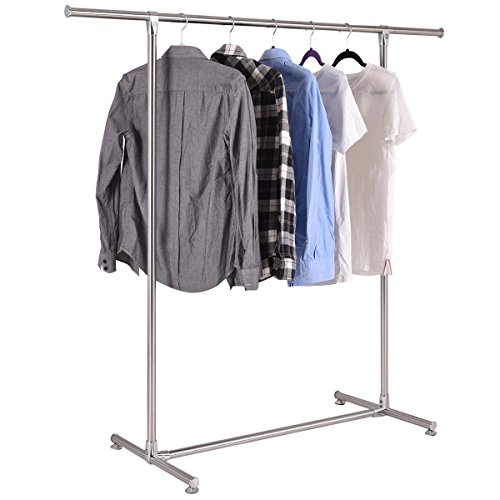 Messy Single Rod (TANGKULA Heavy Duty Stainless Steel Garment Rack Clothes Hanging Drying Display (silver))
