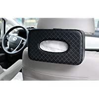 KolorFish Headrest Car Tissue Holder, Car Back Seat Hanging Tissue Holder with PU Leather, Tissue Box Holder (Tissues Included) (Black)
