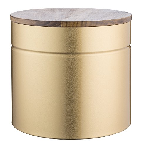 Typhoon Modern Kitchen Bread Bin, 3-Quart Gold Metallic Canister With Acacia Wood Lid, Airtight Seal Keeps Contents Fresh by Typhoon
