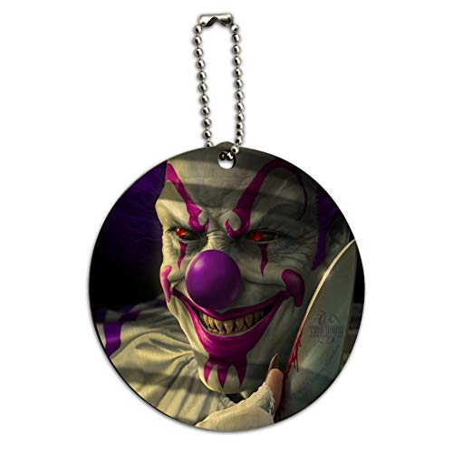 Mischief the Evil Purple Clown Round Wood Luggage