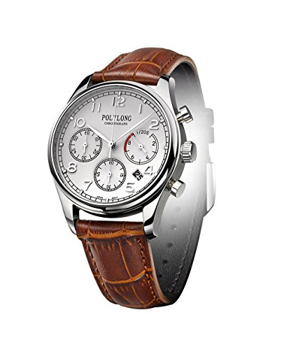 Men Multifunction Sports Chronograph Waterproof Date Synthetic Sapphire Window Brown Leather Strap Quartz Watch