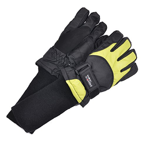 SnowStoppers Kid's Waterproof Ski & Snowboard Winter Gloves (Small Ages 6-10, Lime)