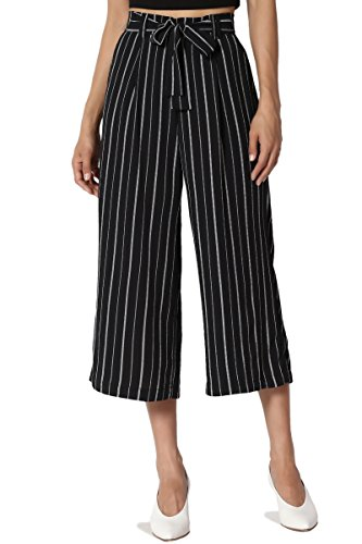 TheMogan Junior's Stripe Tie Front High Waist Culotte Wide Leg Crop Pants Navy M