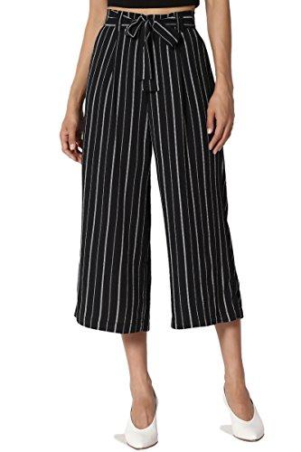TheMogan Junior's Stripe Tie Front High Waist Culotte Wide Leg Crop Pants Navy L