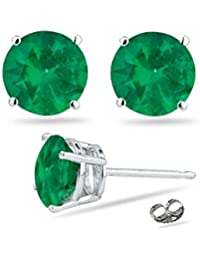 0.95-1.41 Cts of 5.5 mm AA Round Natural Emerald Stud Earrings in Platinum