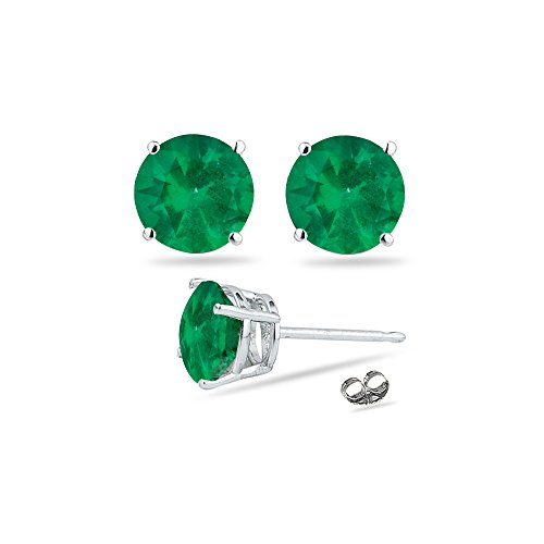095-141-Cts-of-55-mm-AA-Round-Natural-Emerald-Stud-Earrings-in-14K-White-Gold