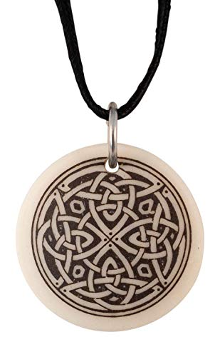 Celtic Knotwork Round Porcelain Pendant On Braided Cord Irish and Scottish Spiritual Quest Symbol