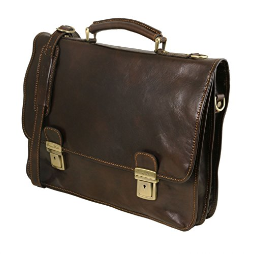 Dark briefcase 2 Leather compartments Dark Leather Firenze Brown Brown Tuscany wtqCT8IE
