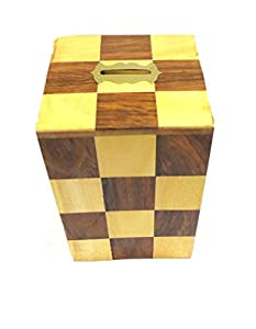 Affaires Beautiful Handmade Wooden Money Bank in Square Shape with Beautiful Chess Design Print. A Piggy Bank Makes a Unique and Elegant Christmas or Birthday Gift. W-40094
