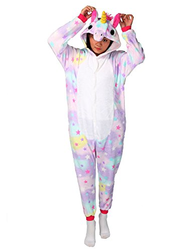 Easy Animal Halloween Costumes Make (Unicorn Onesie Animal Pajamas Adult Sleepwear Kigurumi Cosplay Halloween Costume (L, Stars))