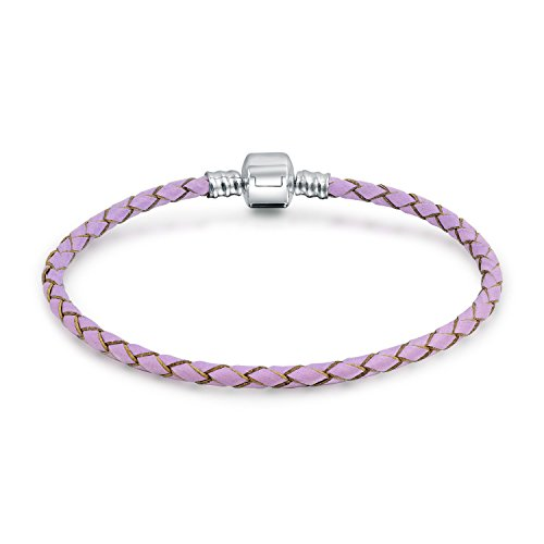Lavender Braided Genuine Leather Starter Charm Fits European Beads Bracelet For Women 925 Sterling Silver Barrel ()
