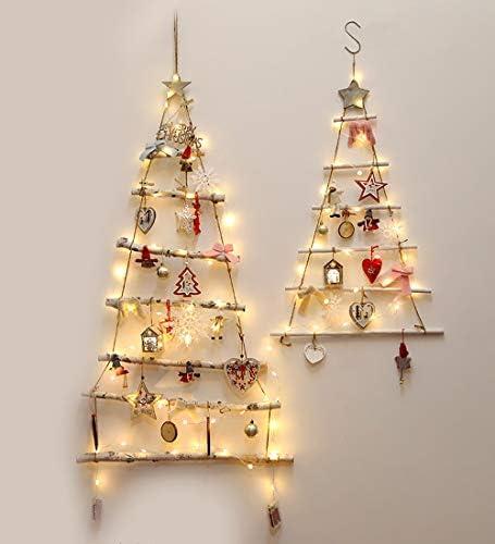 S&C Live クリスマスツリー 120cm 北欧 壁掛け 大人シンプル 大人かわいい ライト付 光る 木製 DIY オーナメント リボン ボール 雪結晶 星 スター 欧米Instagram おしゃれ クリスマスツリー 窓飾り ショーウィンドウ コンパクト#190515 (大)