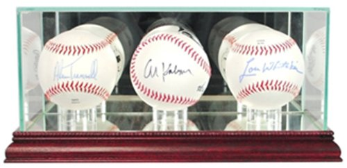 MLB Triple Baseball Glass Display Case, Cherry