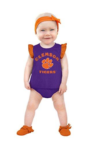 NCAA Clemson Tigers Girls Ruffle Dress, 12-18 Months, Orange