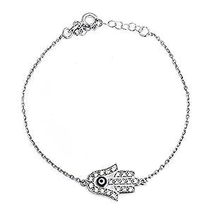 Bling Jewelry plata esterlina 925 CZ mal de ojo Hamsa Pulsera de 6,5 pulg.