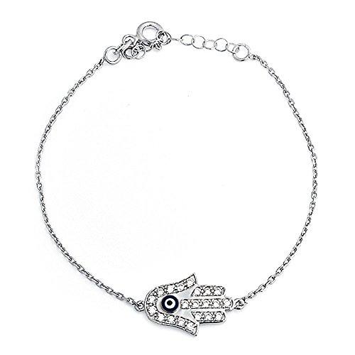 Bling Jewelry 925 Sterling Silver CZ Evil Eye Hamsa Bracelet 6.5 Inch - 925 Sterling Silver Bling