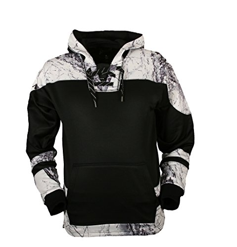 Overtime Camo Hockey Hoodie With Laces by Gamehide (Black/ Snow Camo, 2X)
