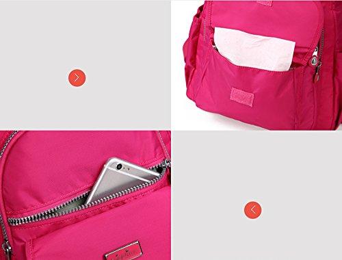 Bolso de la momia del hombro, bolso multi-funcional de la madre de la manera, bebé impermeable portable fuera del bolso ( Color : Morado oscuro ) Azul