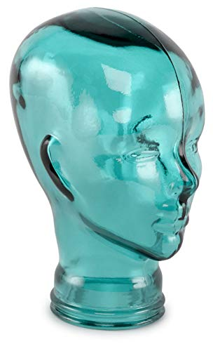 Traders and Company Spanish 100 Recycled Glass Aqua Blue Head – 11.5 H