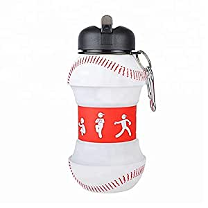 BALL HOG - Sports Water Bottle Baseball - BPA Free - Reusable Leak and Shock Proof - Squeezable Collapsible Foldable Water Bottle