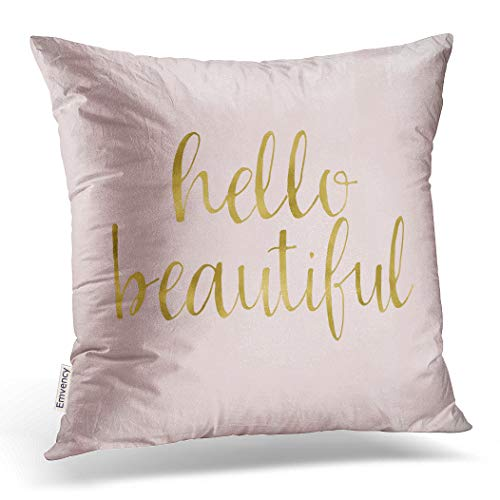 Emvency Throw Pillow Cover Pink Gold Watercolor Hello Beautiful Decorative Pillow Case Girly Home Decor Square 20 x 20 Inch Cushion ()