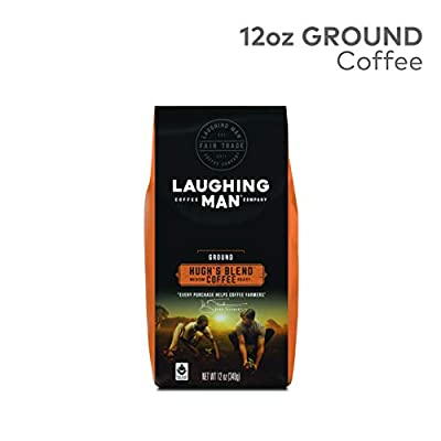 Laughing Man Hugh's Blend, Ground Coffee, Fair Trade Certified, Medium Roast, Bagged 12oz. from Laughing Man