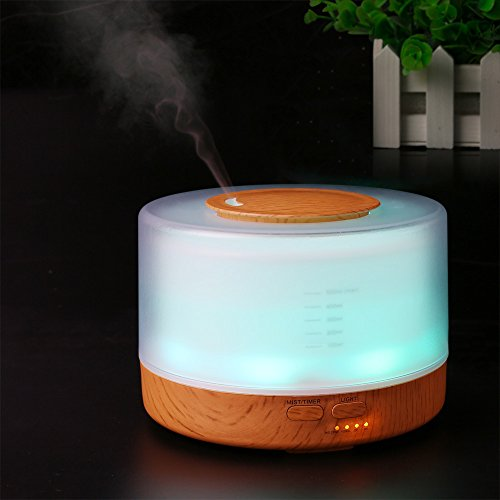 OWIKAR Aroma Essential Oil Diffuser 500ml Ultrasonic Aromatherapy Quiet Cool Mist Humidifier Air Purifier with 7 Color Light Changing And 4 Timer Modes For Home Bedroom Baby Room Office (wood grain)