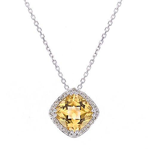 Revoni Bague en or blanc 9carats-Collier avec pendentif carré diamant et Citrine