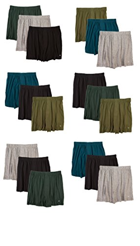 Joseph Abboud Men's 18 Pack Full Cut Cotton Boxers Sleep Shorts - Value Pack (Large, Assorted) Mens Full Cut Boxer Short