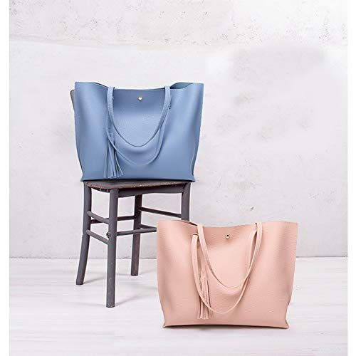 Bags Handle Shopping Blue Purse Handbag Women Top Tote Leather Bag Shoulder a8H8RqzwA