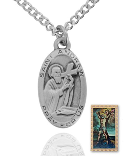 10 x Pewter Saint Andrew Oval Medal + 24 Inch Endless Chain + Laminated Prayer Card by Sterling Faith