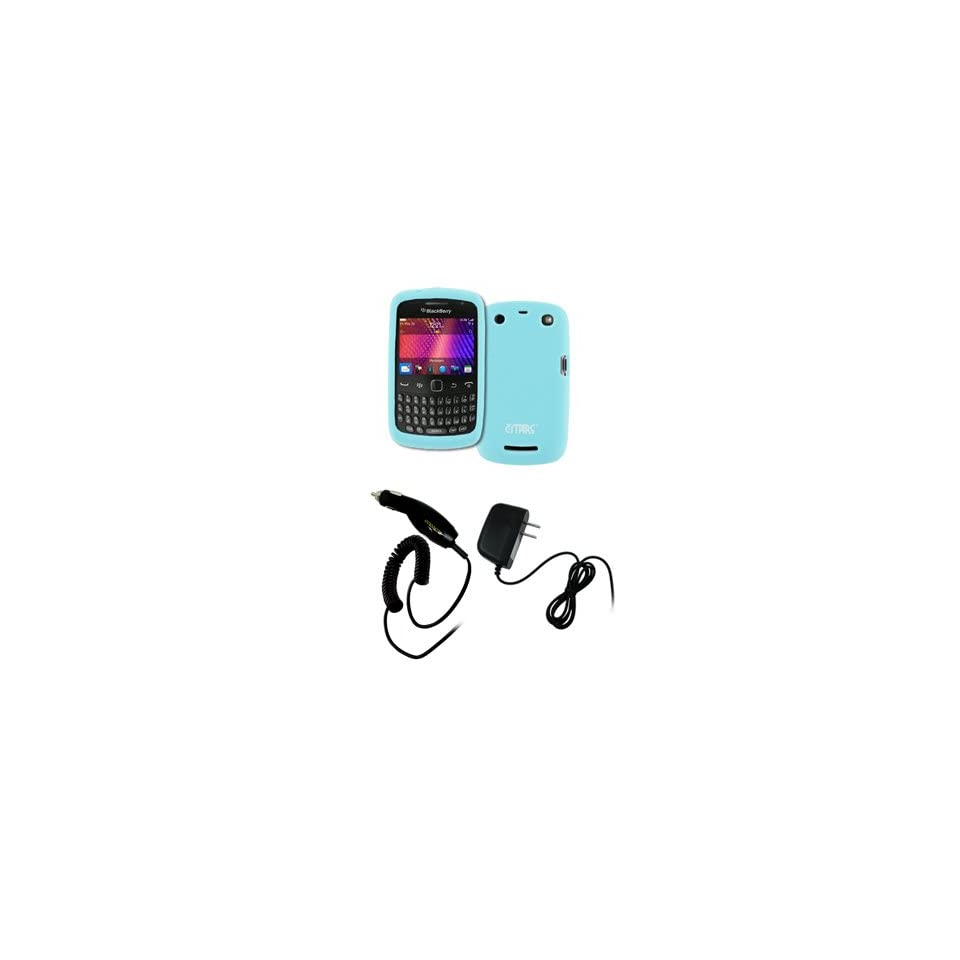 EMPIRE Light Blue Silicone Skin Case Cover + Car Charger (CLA) + Home Wall Charger for BlackBerry Curve 9350