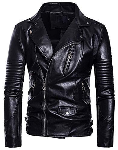 ssjjsacv Men's Casual Crinkled Sleeve Slant Zip Up Biker Faux Leather Jacket,Large,Black