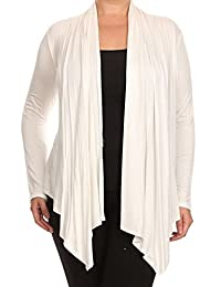 Women's Plus Size Juniors Open Draped Front Long Sleeve Cardigan Sweater