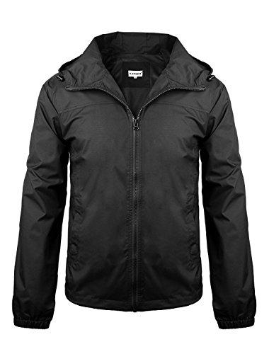 iLoveSIA Men's Lightweight Rain Jacket with Hood Black Size S by iLoveSIA