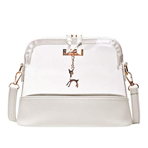 Rakkiss Women Transparent Crossbody Bag Fawn Pendant Shell Shoulder Bag Messenger Bag White