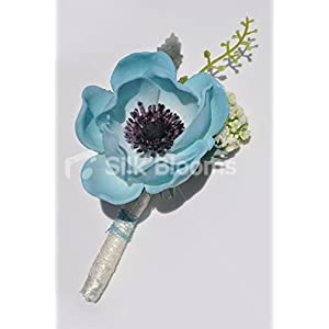 Real Touch Turquoise Anemone Poppy Grooms Wedding Buttonhole 16