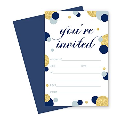Printable Dinner Invitations - Navy and Gold Invitations with Navy Blue Envelopes Fill In Set of 15