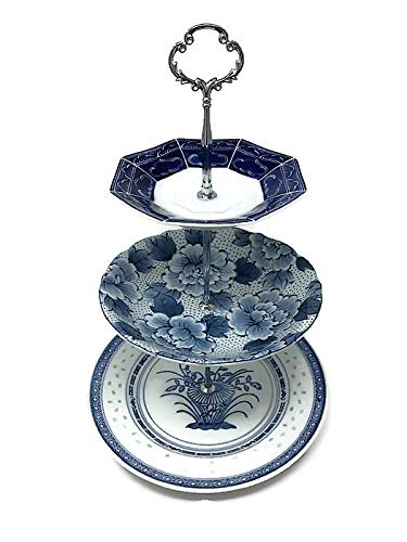 Three Tier Stand, Cake Stand, Dessert Stand, Cup Cake Stand, Jewelry Stand, Vanity Tray, Appetizer, Tidbit, Center Piece, Shabby Chic, Vintage, Blue