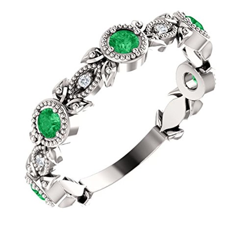 Chatham Created Emerald and Diamond Vintage-Style Ring, Rhodium-Plated 14k White Gold, Size 7 ()