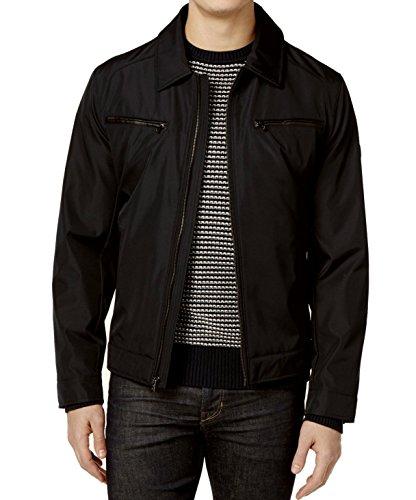 Michael Kors Mens Faux-Leather Zip Pocket Jacket Black 3XT